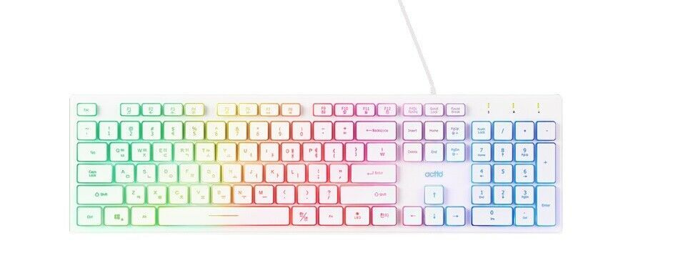 Actto Korean English USB Wired Keyboard LED Backlight Membrane Keyboard (White)
