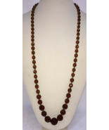 Necklace Amber Topaz Color Crystal Glass Faceted Beads Graduated Size VT... - $29.65