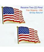 2 - High Quality American Waving Flag Lapel Pins - Patriotic US U.S. USA... - $5.82