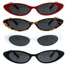 Womens Extra Narrow Goth Retro Cat Eye Plastic Sunglasses - £7.13 GBP