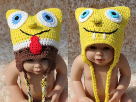 New Handmade Knit  Crochet SpongeBob Hat Baby Hat Cap Newborn Photo Prop... - $9.99
