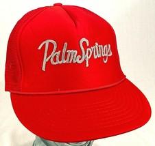 PALM SPRINGS Hat-Mesh-Red-Rope Bill-Snapback-Vacation Cap-Vintage - $13.97