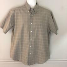 J. Crew Short Sleeve Shirt Button Front Brown Plaid Size L - $14.84