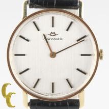 homme vintage MOVADO 18 CARATS or remontage Watch W / bande de Cuir Noir - $1,416.44