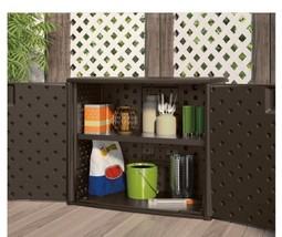 Resin Outdoor Storage Cabinet Wicker Deck Box 2 Door Patio Garden Yard T... - $153.44