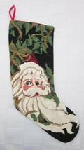 Christmas Stocking Santa Claus Wool Needlepoint and Gold Bead Ribbon Des... - $33.24
