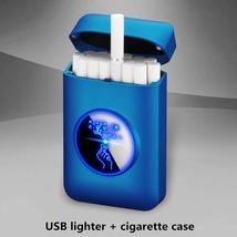 New Cigarette Case box USB Lighter Creative Graphic LED display USB char... - $9.55+