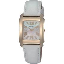 Seiko Women S White Leather Gold Tone Case Hardlex Quartz Watch SRZ 370 - $126.72