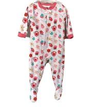 Carters Girls Pink White Cupcakes Candy Fleece Long Sleeve Pajamas 18 Months - $5.34