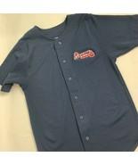 Majestic Atlanta Braves Navy Blue Youth Jersey Boys Size Large Button Up - $14.85