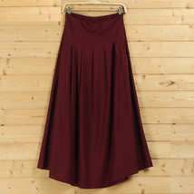 Women A Line Pleated Linen Skirts Linen Boho Skirt, Burgundy Beige Blue,One Size image 1