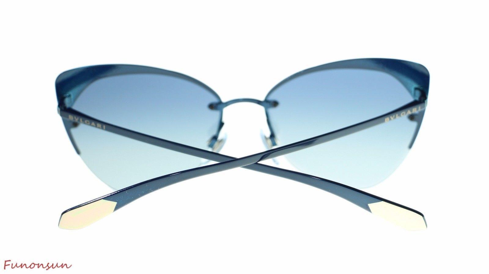BVLGARI Women's Round Sunglasses BV6096 20204L Blue/Blue Grey Gradient Lens 58mm