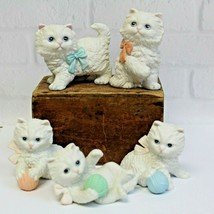 Five 5 Vintage Homco 1410 1428 White Kitty Cats Porcelain Ceramic Figurines - $24.99