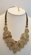 """Joan Rivers Simulated Drusy Bib 18"""" Necklace w/3"""" Extender GOLDTONE - $69.58"""