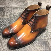 Leather Handmade Men's Patina Dress Boots, Leather Tan Patina Formal Boots - $204.57