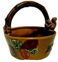 Mid-Century Ceramic Fall Leaves Acorns Brown Nut Basket Squirrel Twig Ha... - $19.98