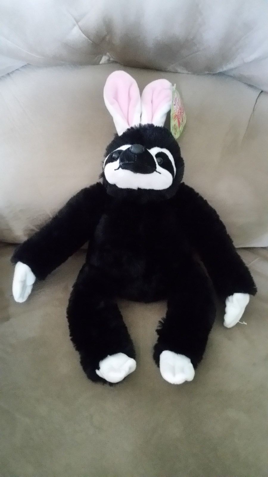 Black Sloth with Bunny Ears Brand New Plush NWT Stuffed Animal w/ Tags 15""