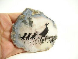 Silhouette Ducks Hand Painted on Geode Stone Slice Folk Art Wall Hanging Plaque image 4