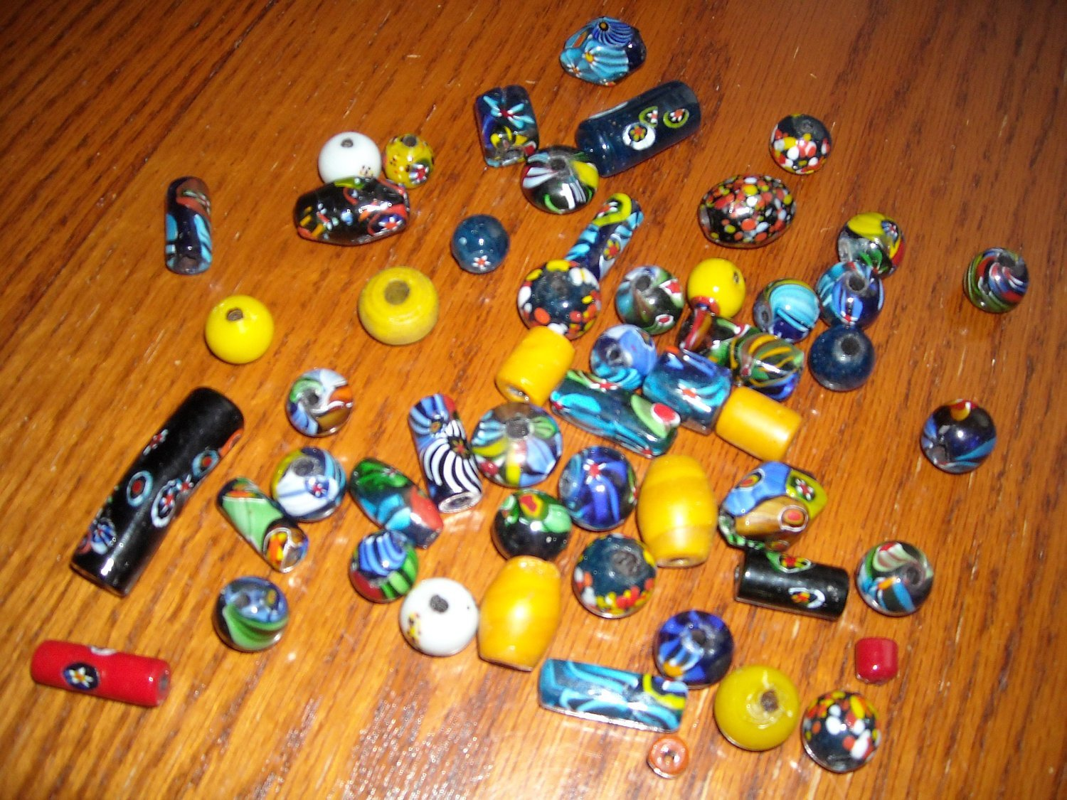 Vintage Trade Beads Hand Crafted Art Glass Mixed Shapes & Colors 54 Total