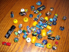 Vintage Trade Beads Hand Crafted Art Glass Mixed Shapes & Colors 54 Total  - $24.95