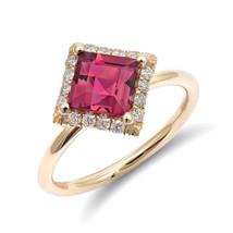 14k Yellow Gold 1.45ct TGW Natural Pink Tourmaline White Diamond Engagem... - £982.37 GBP