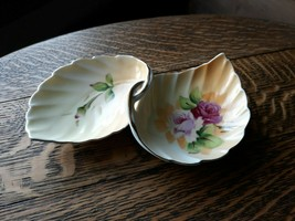 Lefton Double Leaves China Trinket Dish Gold trim Hand Painted No. 4674 - $20.20