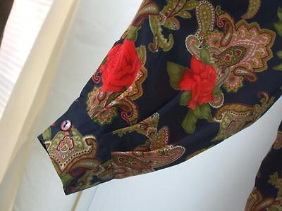 Muiat Hol Woman's Blouse Black Red Roses Button Down Long Sleeve Size Plus L