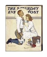 Football Hero Letterman Norman Rockwell Football Canvas Giclee Print 22x18 - $187.11