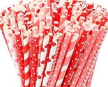 Tomnk 250pcs 8 Styles Valentine's Day Paper Straws, Red and Pink (B-red)