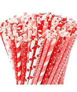 Tomnk 250pcs 8 Styles Valentine's Day Paper Straws, Red and Pink (B-red) - $24.97