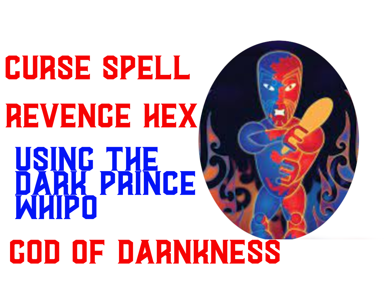 Curse spell Whiro God of death curse spell take the ultimate revenge black magic - $99.97