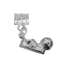 Soccer Ball shoe Player Solid Sterling silver 925 football team charm be... - $22.49