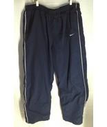 Nike Mens XL Activewear Pants Elastic Waist Blue With White Stripe Pocke... - $9.89