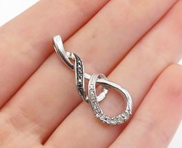 925 Sterling Silver - Vintage Genuine Black & White Diamonds Pendant - P... - $34.23