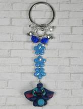 Disney Stitch Flower Crystal Beaded Handmade Split Ring Keychain Blue New - $14.83
