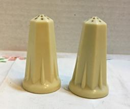 Vintage CELULOID Art Deco Cream Color Salt & Pepper Set // Retro // Picnic - $10.00