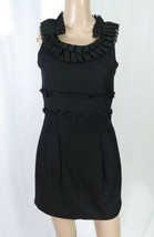 Forever 21 Twist Black Pleated Chiffon Ruffle Trim Wool Sheath Mini Dress S - $7.70