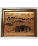 Vtg Geätztem Kupfer Tafel Middle East Szene Saudi-Arabien Coppercraft Wa... - $19.57