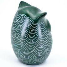 Tabaka Chigware Hand Carved Kisii Soapstone Green Owl Figurine Handmade in Kenya image 4
