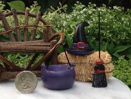 Miniature Dollhouse FAIRY GARDEN ~ HALLOWEEN Resin Witch Hat Broom Cauld... - $11.99