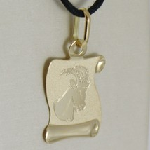 18K YELLOW GOLD ZODIAC SIGN MEDAL CAPRICORN PARCHMENT ENGRAVABLE MADE IN ITALY image 2