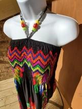 Just Love Black Floral Long Haltertop Dress With Beads Sz M-L - $9.90