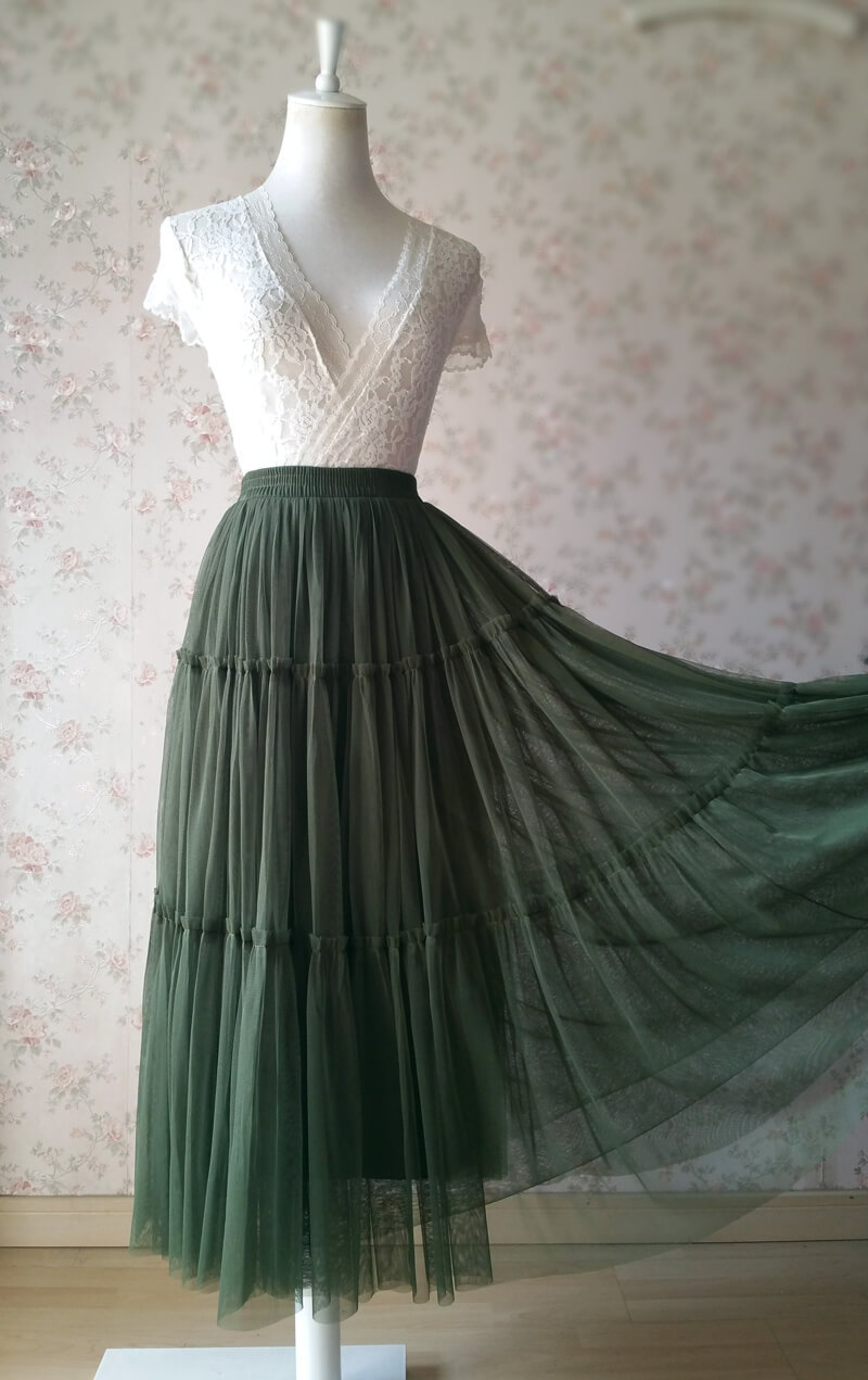 ARMY GREEN Layered Long Tulle Skirt Wedding Bridesmaid Tulle Skirt Plus Size