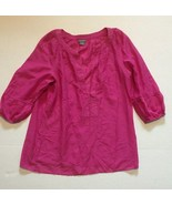 Womens Top Size Small Ann Taylor Top Pink 3/4 Sleeve Sheer Light & Airy  - $3.99