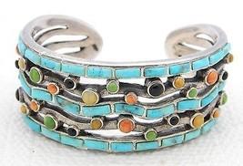 VTG Sterling Silver .925 Turquoise Onyx Coral Onlay Gemstone Cuff Bracel... - $371.25
