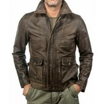 New Men's Genuine Leather Jacket BROWN Distressed Biker N30 - $109.99