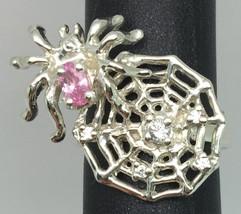 14k Pink Sapphire & Diamonds Spiderweb Ring, FREE SIZING. - $399.00