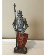 """Medieval Knight Statue 7.5"""" Tall Silver Resin Painted with Spear Weapon ... - $19.99"""