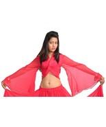 Hot Pink Tribal Gypsy Bell Sleeve Belly Dance Shrug Batik Choli Women To... - $9.79