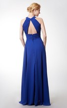 Long Halter Zipper Ruched Royal Blue Bridesmaid Formal Wedding Gown Dres... - $95.00
